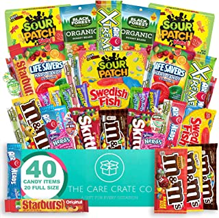 The Care Crate Ultimate Candy Snack Box Care Package ( 40 piece Candy Snacks) Includes 20 Full Size Candies - Starburst, S...