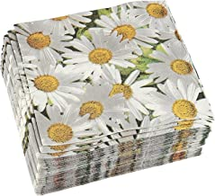 White Daisy Print Paper Napkins (6.5 x 6.5 In, 100 Pack)