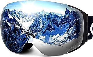 LEMEGO Ski Goggles PRO 90S Super Anti-Fog Ski Snowboard Interchangeable Lens 100% UV400 Protection Snow Goggles Anti-Slip Strap for Men&Women
