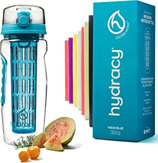 Hydracy Fruit Infuser Water Bottle - 1Litre Sport Bottle -Full Length Infusion Rod, Time Mark & Insulating Sleeve Combo Set +27 Fruit Infused Water Recipes eBook Gift -Your Healthy Hydration Made Easy
