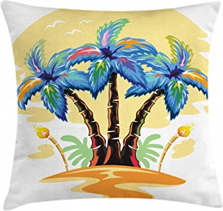 Ambesonne Palm Tree Throw Pillow Cushion Cover, Colorful Cartoon Tropical Island with Hawaiian Palm Trees Torch Seagulls Sunset, Decorative Square Accent Pillow Case, 18