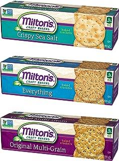 Milton's Gourmet Crackers. Crispy Sea Salt, Multi-Grain, and Everything Bundle Non-GMO Baked Crackers (3 Flavor Variety Bundle, 8.3 ounce).
