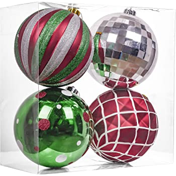 Valery Madelyn 4ct 150mm Classic Collection Splendor Red Green White Shatterproof Christmas Ball Ornaments Decoration,Themed with Tree Skirt(Not Included)