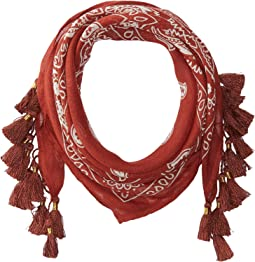 Bandana Print Neckerchief with Tassels