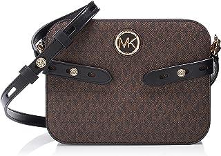 حقيبة كارمين طويلة تمر بالجسم بشعار كبير من مايكل كورس - اسود/ بني
