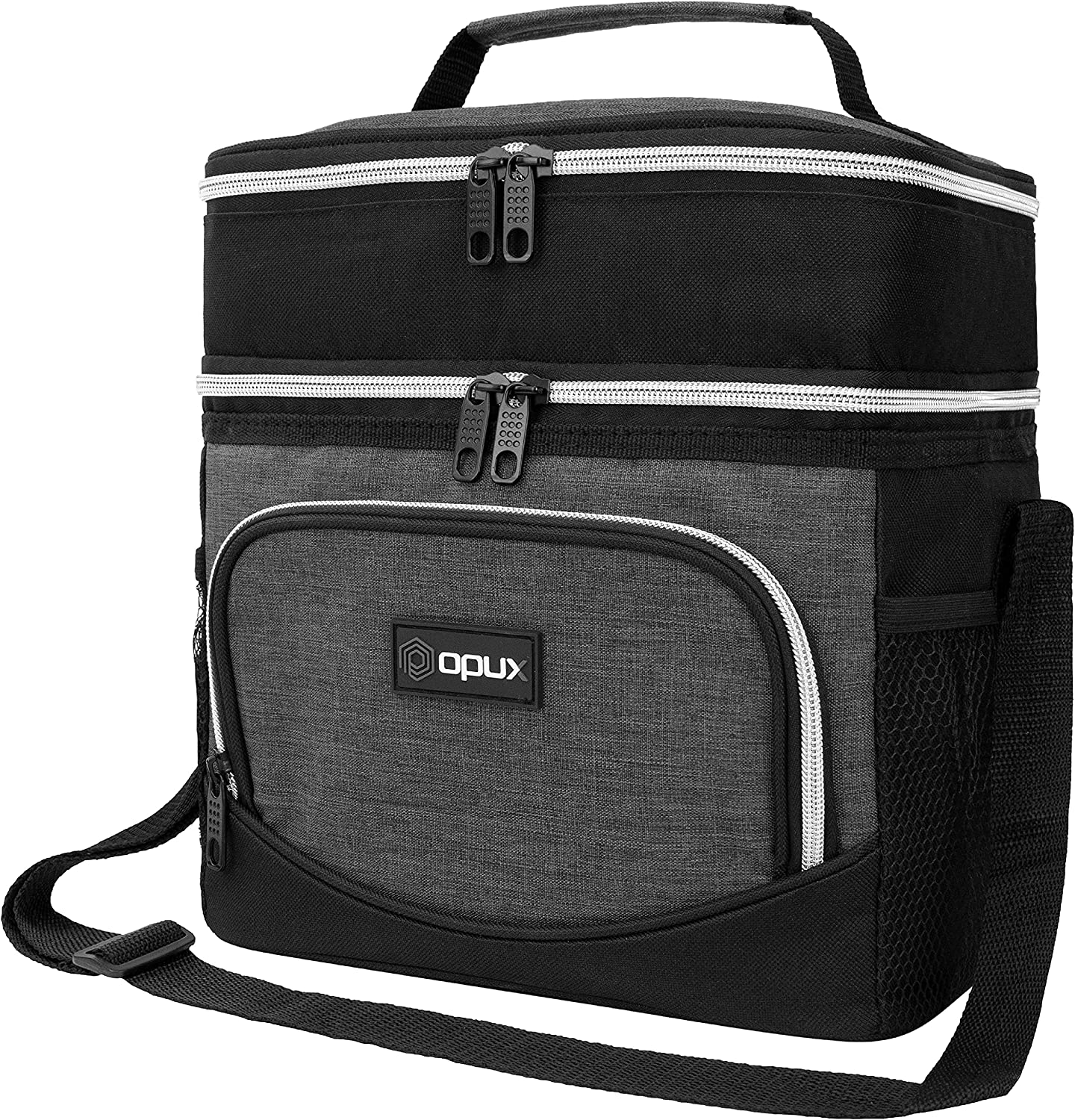OPUX Insulated Dual Compartment Lunch Box Men Women | Leakproof Double Deck Lunch Bag Work Office School | Soft Cooler Tote Shoulder Strap Adult Kid | Reusable Thermal Lunch Pail Kit 12 Can, Dark Gray