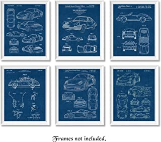 Original Porsche 911 Patent Poster Prints, Set of 6 (8x10) Unframed Photos, Great Wall Art Decor Gifts Under 20 for Home, Office, Garage, Man Cave, College Student, Teacher, Germany Cars & Coffee Fan
