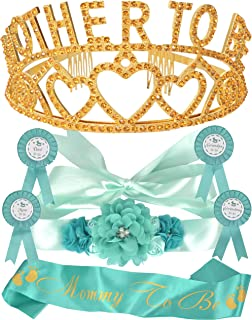 Mother To Be Tiara Hearts Crown Green/Mint + Maternity Flower Belly Belt + Mommy to Be Sash and Pin + Dad To Be Pin + Gender Reveal party supplies, Green Mint Baby Shower Party Decorations