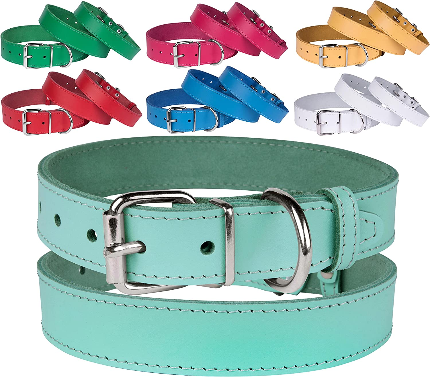 BronzeDog Genuine Leather Dog Collar Puppy Pet Collar for Dogs Small Medium Large Pink Red bluee Green Turquoise White Yellow (Neck Size 17   18 , Turquoise)