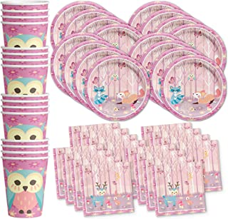 Girl Woodland Animals Pink Birthday Party Supplies Set Plates Napkins Cups Tableware Kit for 16