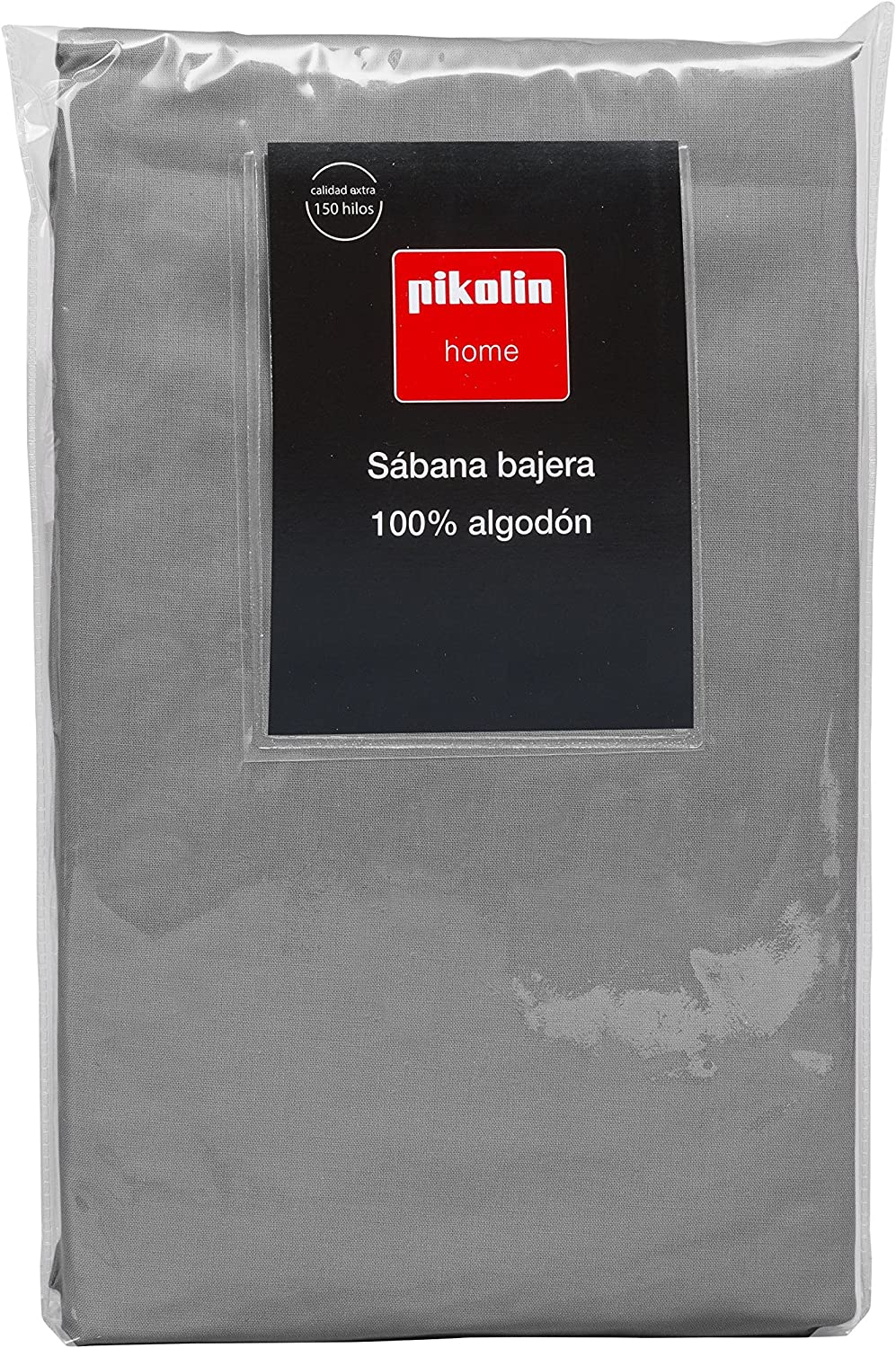 Pikolin Home  Adjustable Fitted Sheet, 100% Cotton, 135 x 200 cm, Bed 135 140, Grey Colour