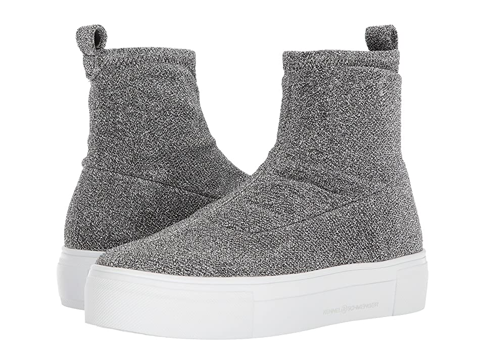 Kennel & Schmenger Glitter Sock Boot (Silver Stretch Lurex) Women