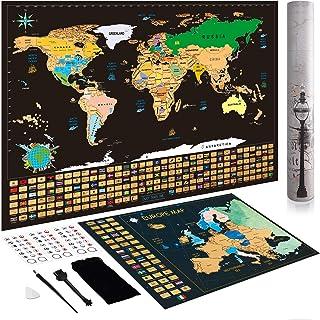 Mapa Mundi Rascar Regalos Originales - Regalos Curiosos para Hombre Mujer Mapamundi Rascar + Bono Mapa Rascable Europa, Póster del Mapa Mundi de Rascar con Tubo de Regalo, Regalos Mujer & Hombre