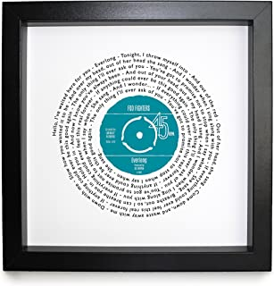 Any Song Lyrics Personalised Print - Looks just like a Vinyl Record ! Poster of First Dance or Anniversary Song - fully framed BLACK box 9.5 inch frame