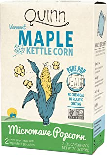 Quinn Snacks Microwave Popcorn - Made with Organic Non-GMO Corn - Great Snack Food for Movie Night - Vermont Maple & Sea Salt, 7 Ounce (Pack of 1)