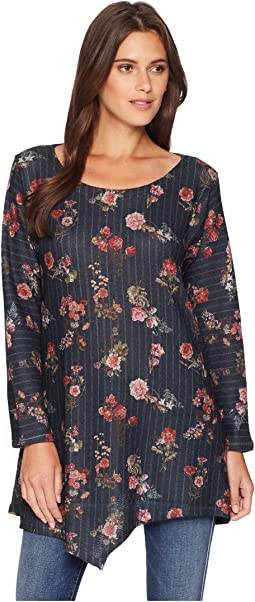 Long Sleeve Floral Stripe Asymmetric Tunic