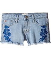 "Hudson Kids 2 1/2"" Fray Hem Shorts with Embroidery in Light Blue (Toddler/Little Kids)"