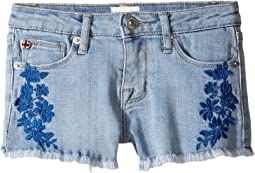 """2 1/2"""" Fray Hem Shorts with Embroidery in Light Blue (Toddler/Little Kids)"""
