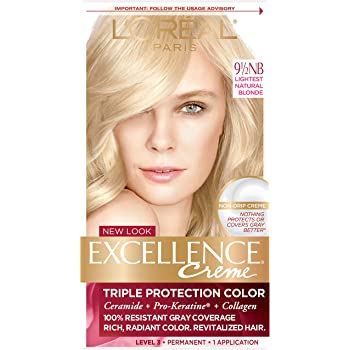 L'Oreal Paris Excellence Creme Permanent Hair Color, 9.5NB Lightest Natural Blonde, 100% Gray Coverage Hair Dye, Pack of 1