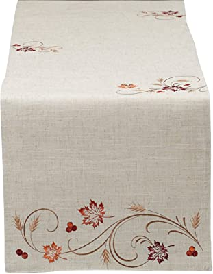 """DII 14x70"""" Polyester Table Runner, Embroidered Autumn Wheat - Perfect for Fall, Thanksgiving, Catering Events, or Everyday Use"""