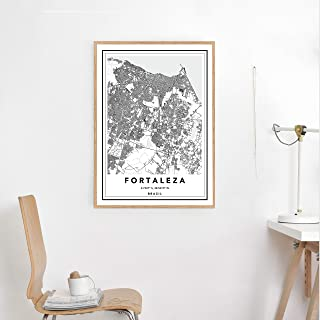Pulling Fortaleza City Map Print Custom City Map Map Wall Art Map of Fortaleza Fortaleza Map Print Black White Map Print Brazil Map Print