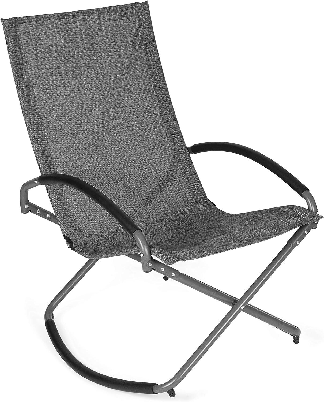 Park Alley Relaxsessel in anthrazit, klappbarer Liegestuhl mit Schaukelfunktion, Gartenstuhl für Garten, Terrasse oder Balkon, Klappstuhl für Strand und Camping Ausflüge