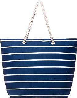 Brandsseller Strandtasche mit Reißverschluss 50x38x15cm Schultertasche Einkaufstasche Innentasche
