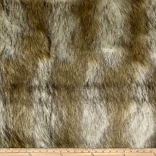 Shannon Fabrics Lux Fur Striped Coyote Ivory/Gold Fabric Fabric by the Yard