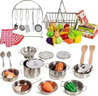 IQ Toys 50 Piece Complete Pretend Play Food and Kitchen Set, Complete from Supermarket Shopping to Cooking with Fake Kitchen Toy Food and Accessories