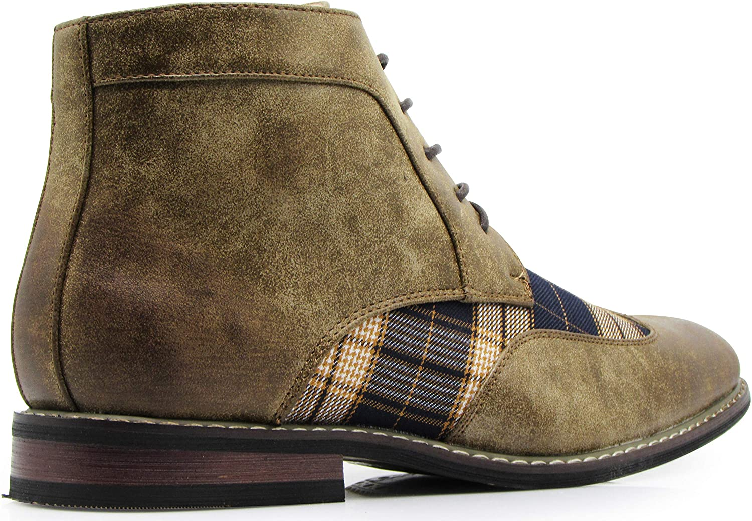 Titan04 Men Spectator Tweed Plaid Two Tone Chukka Ankle Wingtips Oxfords Dress Boots Perforated Lace Up Dress Shoes
