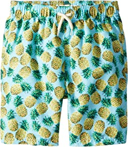 Allover Print Mid Length Swim Trunks (Toddler/Little Kids/Big Kids)