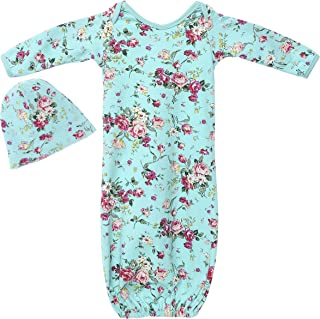 Newborn Baby Gowns Set for Girls - Cute Little Sleeper with Beanie - Makes a Great Swaddle Sleep Sack - Aqua Floral