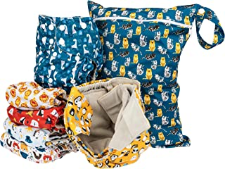 Simple Being Reusable Cloth Diapers- Double Gusset-6 Pack Pocket Adjustable Size-Waterproof Cover-6 Inserts-Wet Bag (Boys ...