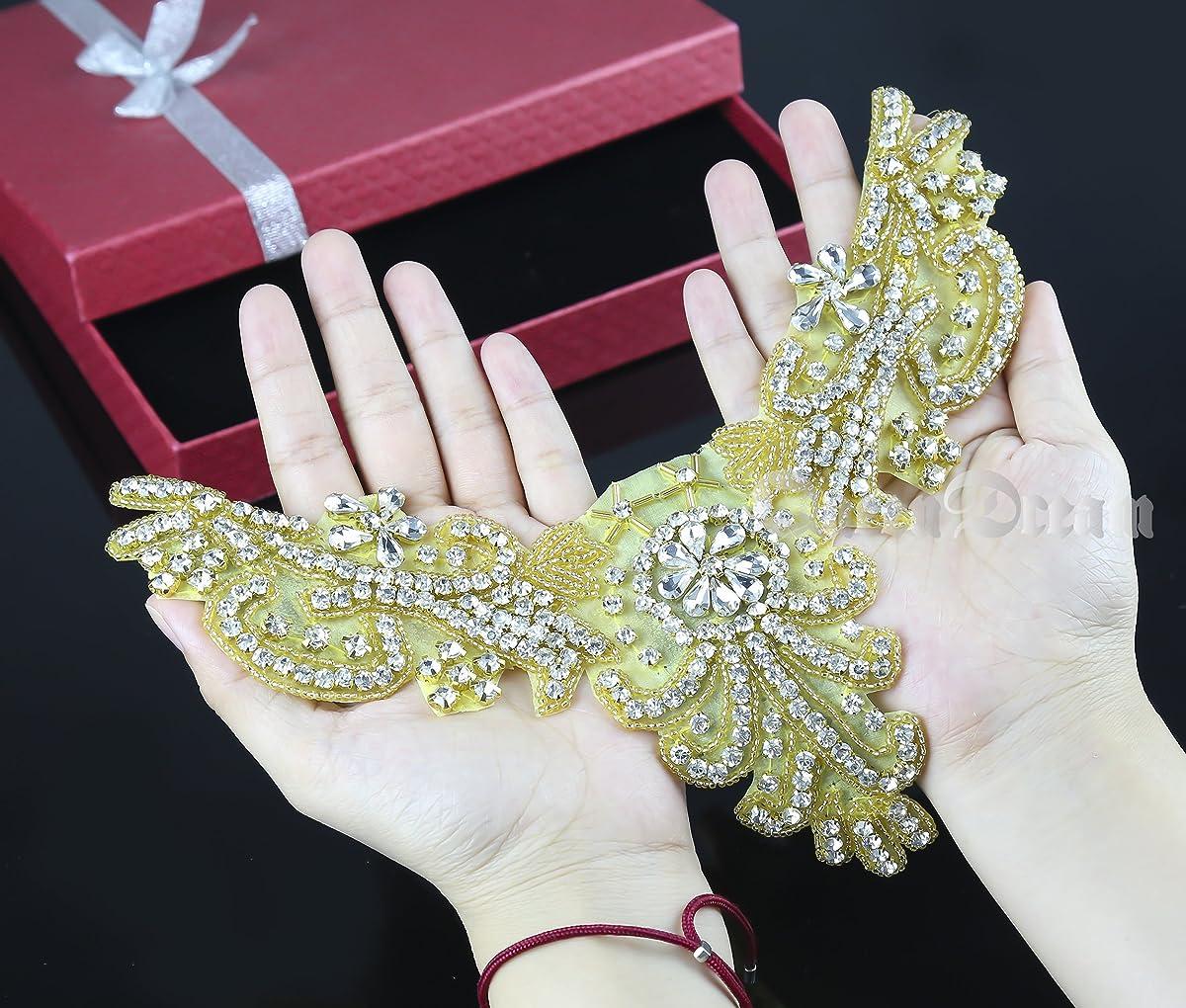Gold Applique Rhinestone Wedding Applique Vintage Bridal Applique Bead Applique Wedding Headband Headpiece