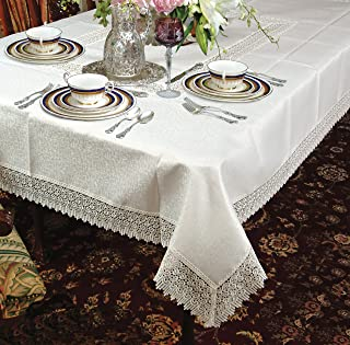 Violet Linen Treasure Lace Oblong/Rectangle Tablecloth, 70