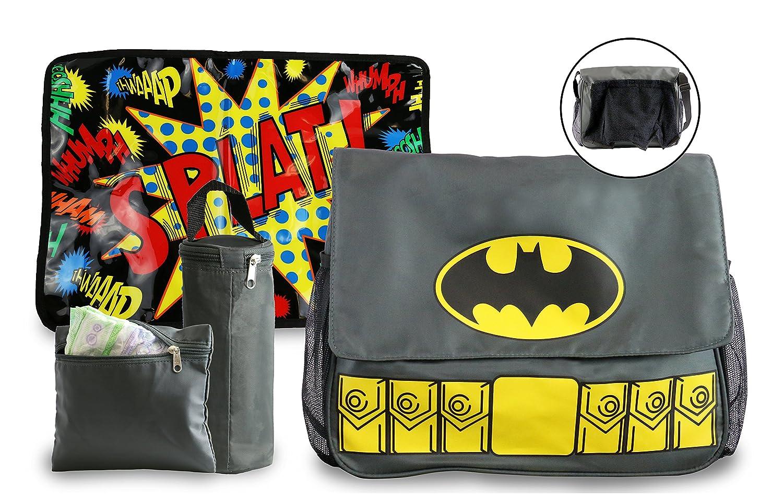 DC Comics Batman Grey Diaper Bag Includes Changing Pad and Bottle Pouch