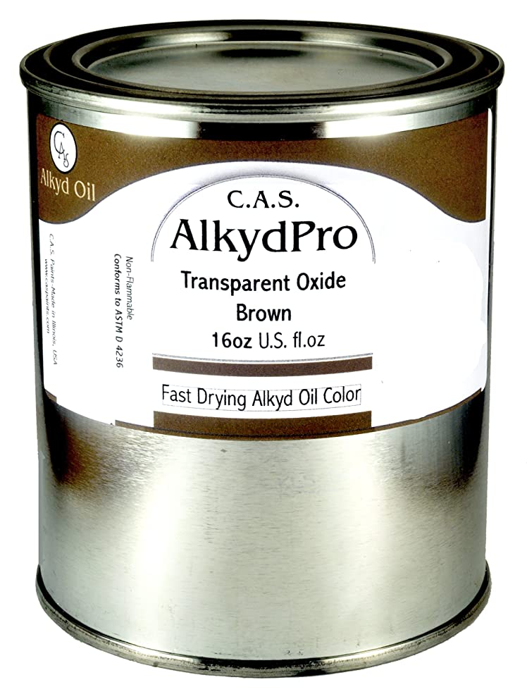 C.A.S. Paints AlkydPro Fast-Drying Oil Color Paint Can, 16-Ounce, Transparent Oxide Brown