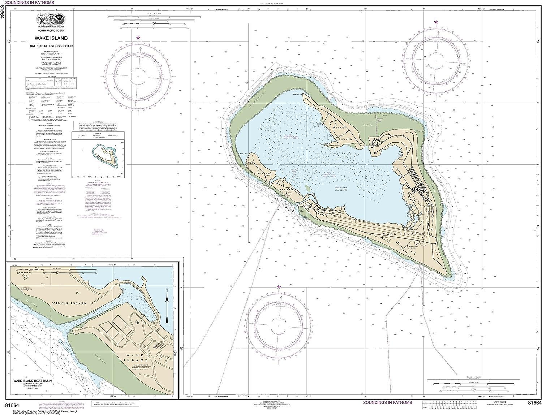 NOAA Chart 81664 Wake Island;Wake Island Boat Basin  32.88  X 42.73  Matte Plastic Map