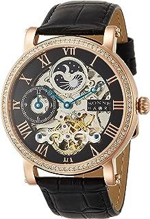 [ゾンネ]SONNE 腕時計 H013 ブラック文字盤 スワロフスキー シースルーバック GMT機能 H013PGZ-BK メンズ