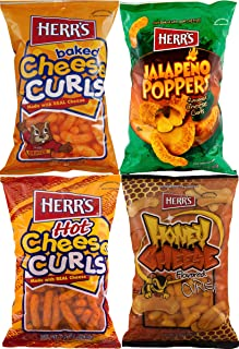 Herr's Cheese Curls, Hot Cheese Curls, Honey Cheese Curls & Jalapeno Poppers Variety 4-Pack