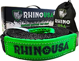 Rhino USA Recovery Tow Strap 2in x 20ft - Lab Tested 20,024lb Break Strength - Heavy Duty Draw String Included - Triple Reinforced Loop Straps to Ensure Peace of Mind - Emergency Off Road Towing Rope