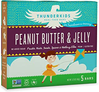 Thunderkids Paleo and Vegan Snacks - Real Food Kids Bars - Box of 5 - No Added Sugar, Grain and Gluten Free, Whole 30, Non-GMO (Peanut Butter & Jelly)