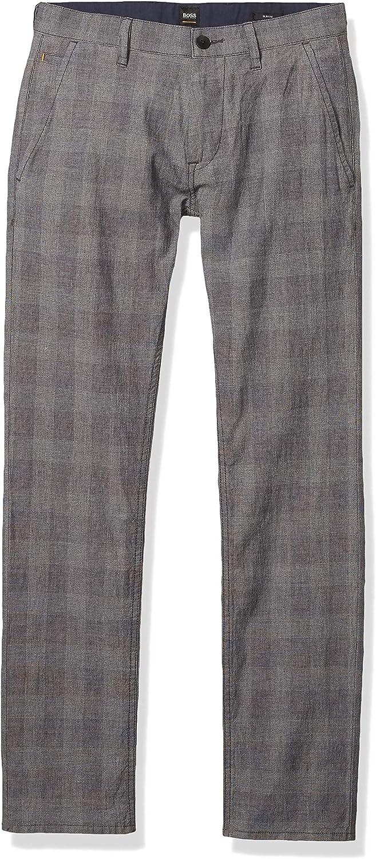 BOSS Men's Grey Microcheck Slimfit Pant, Black, 44