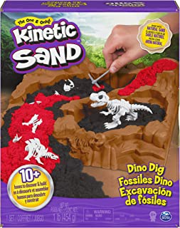 Kinetic Sand, Dino Dig Playset with 10 Hidden Dinosaur Bones to Discover, for Kids Aged 6 and up