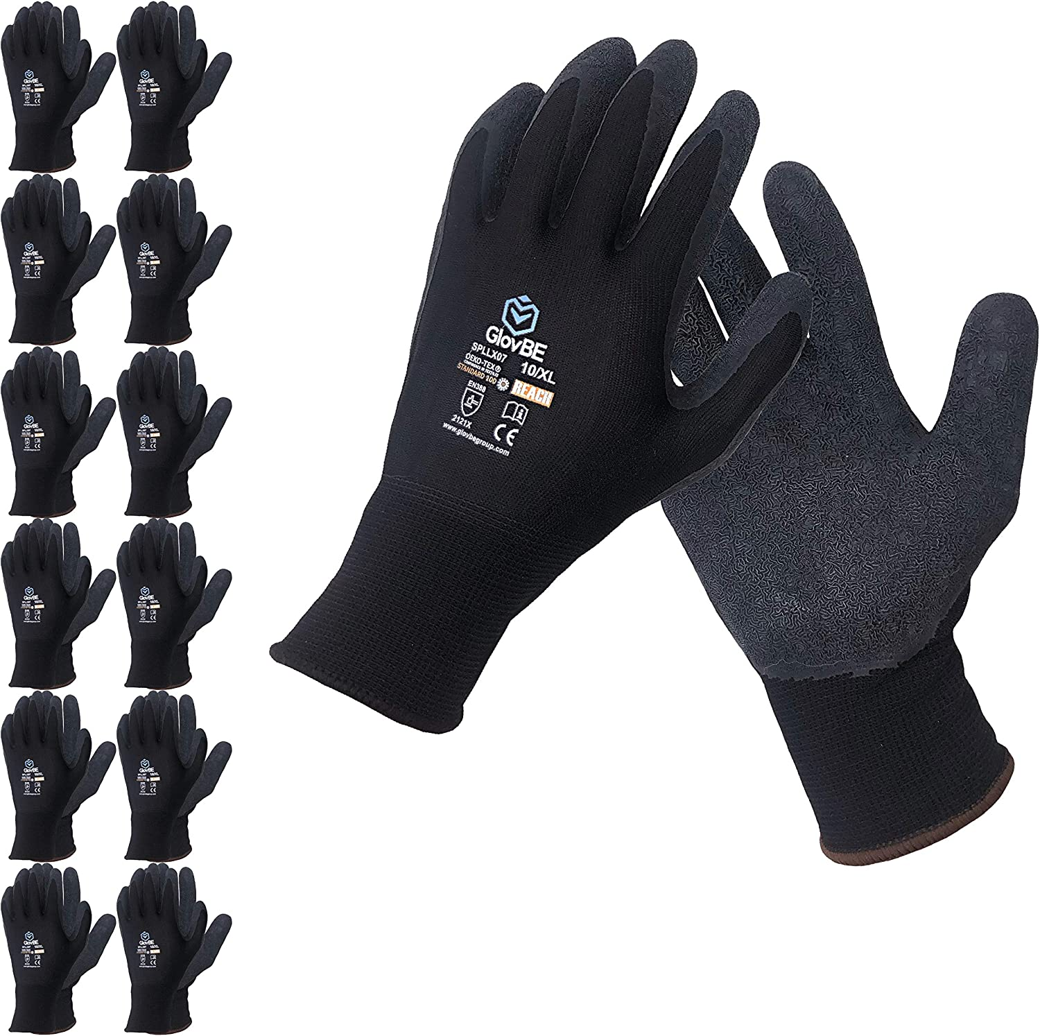 GlovBE 12 Pairs Grip All-Purpose Work Sale special price Latex with P Coated Gloves shipfree