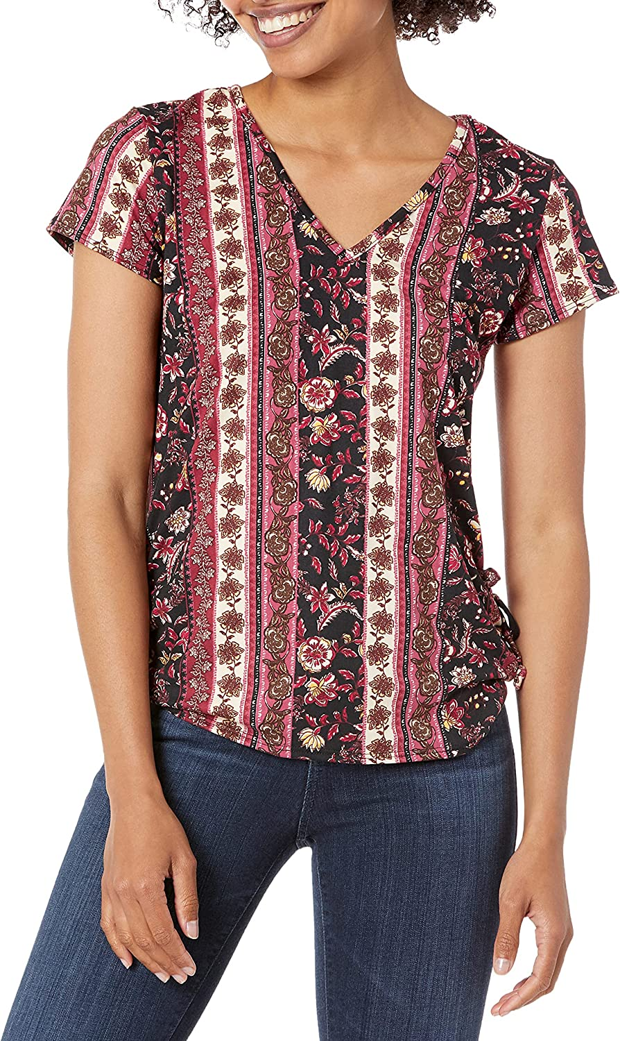 Star Vixen Women's Short Sleeve V Neck Top with Ruched Side Detail