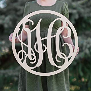 SALE 12-36 inch CIRCLE Wooden Monogram Letters Vine Room Decor Nursery Decor Wooden Monogram Wall Art Large Wood monogram wall hanging wood LARGE