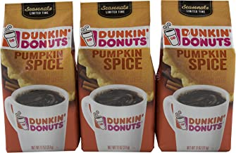 Dunkin Donuts Ground Coffee, Pumpkin Spice, 11 Ounce (Pack of 3)