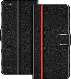 COODIO Funda Huawei P8 Lite con Tapa, Funda Movil Huawei P8 Lite 2015, Funda Libro Huawei P8 Lite Carcasa Magnético Funda para Huawei P8 Lite, Negro/Rojo