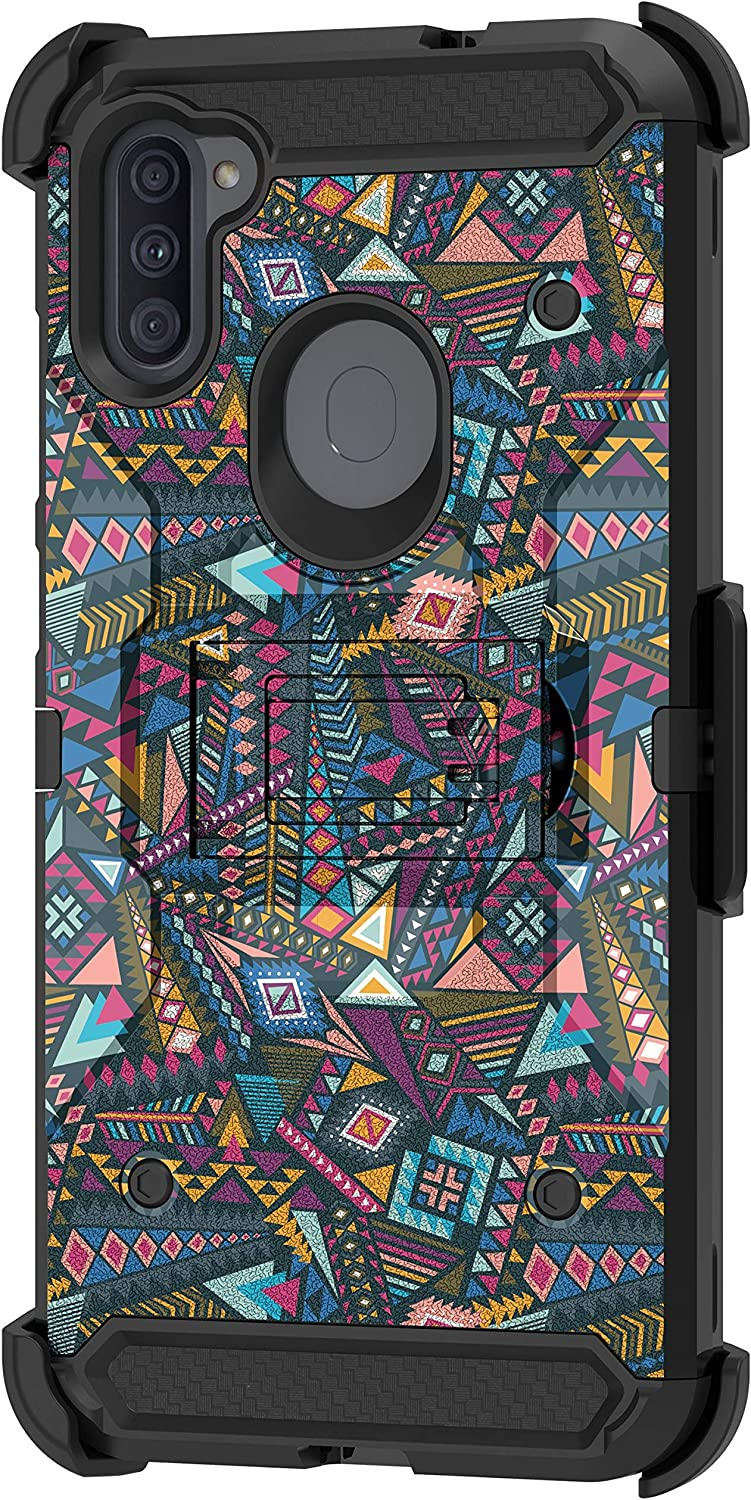 TurtleArmor | Compatible with Samsung Galaxy A11 Case (2020) | A115 [Armor Pro] Full Body Armor Hybrid Kickstand Holster Belt Clip Case Girl Designs - Colorful Tribal Abstract